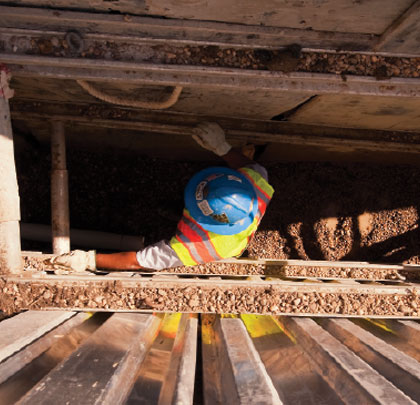 Worker in a trench